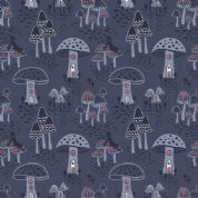 Lewis & Irene Enchanted Forest - 5095 - Toadstool Fairy Houses on Denim Blue - A187.3 - Cotton Fabric